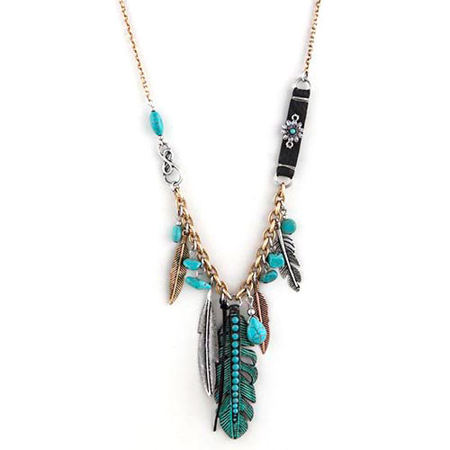 Patina Feathered Charm Dangle Necklace