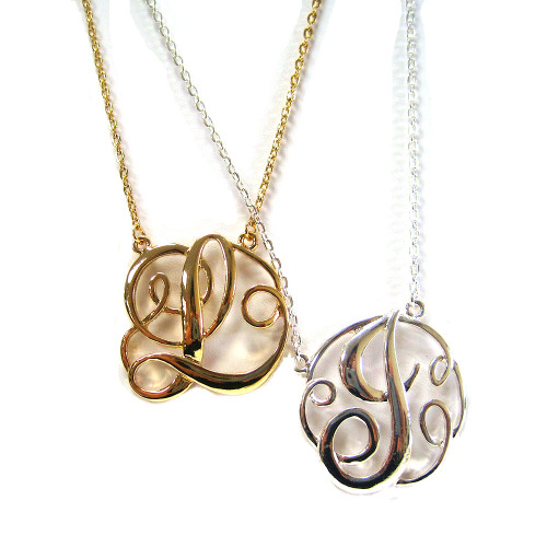 Large Script Initial Monogram Necklace