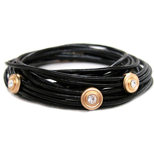 Wrap Style Black Leather Cord Bracelet