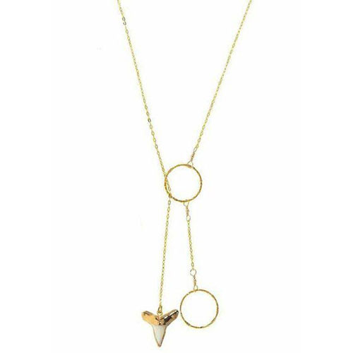 Charlene K's Real Shark Tooth Lariat Pendant Necklace