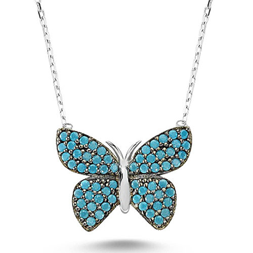 Dusty Blue Pave Crystal Butterfly Necklace 1