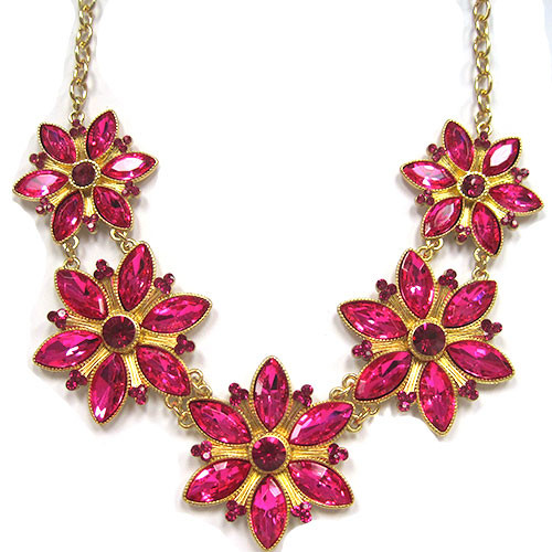 Five Fuchsia Flowers Necklace