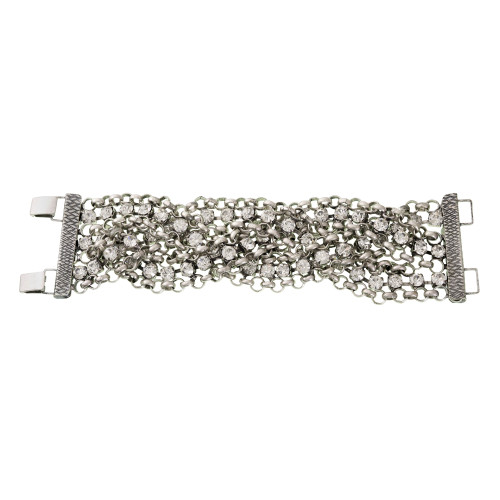 Silver Braided Crystal Bracelet
