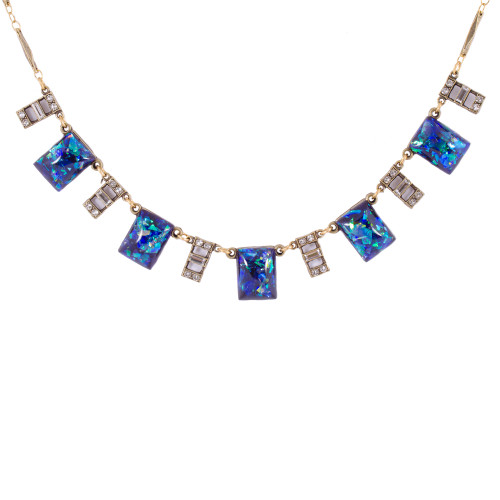 Vintage Blue Opal Glass necklace