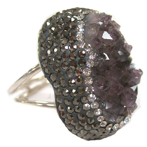 Large Druzy Elongated Amethyst Ring