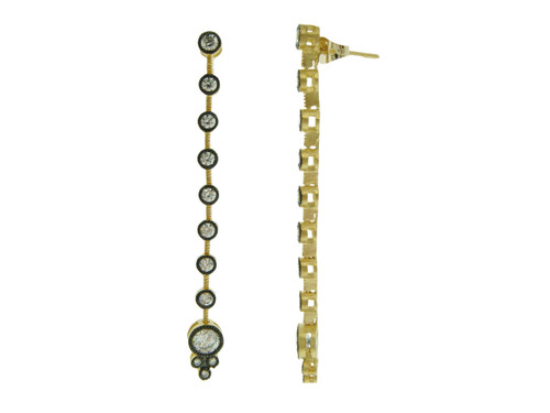 Freida Rothman's Linear Crystal Chain Earrings Gold/Black Rhodium