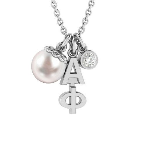 Alpha Phi Silver Triple Charm Necklace