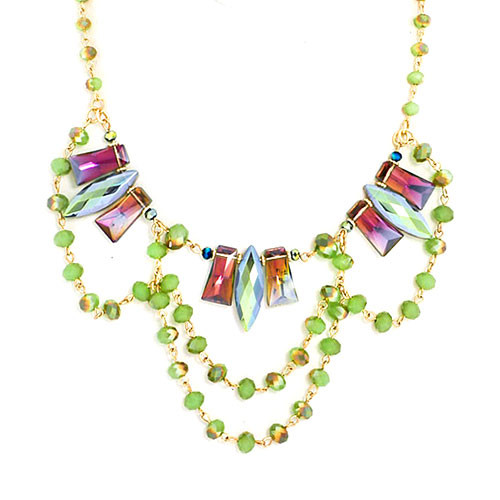 Green Draped Chains Martinque Necklace