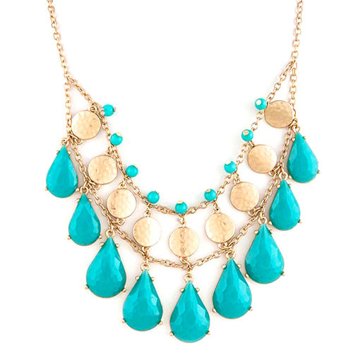 Gold Metal with Turquoise Teardrops Necklace