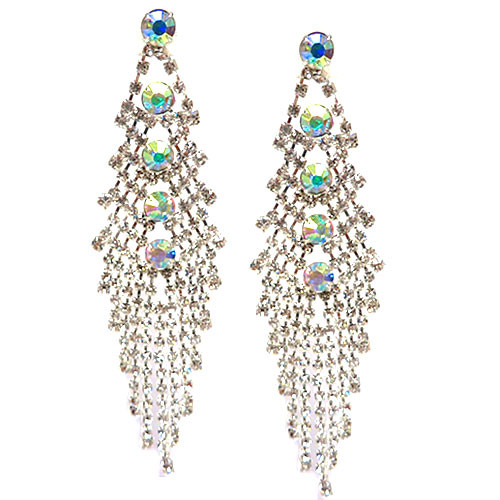 AB and Clear Crystal Waterfall Earring