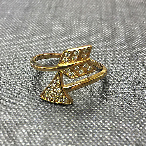 Pave Arrow Vermeil Ring