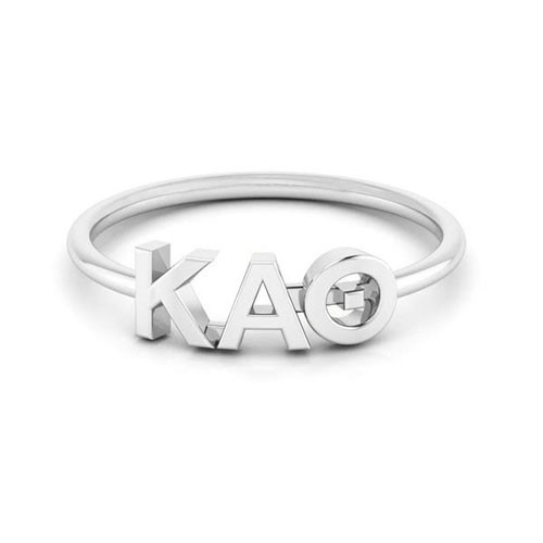 Kappa Alpha Theta Silver Thin Band Letter Ring