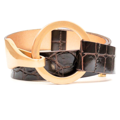 Brown Alligator Embossed Belt