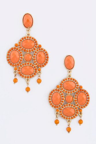 Exotic Coral/Orange Treasure Earring