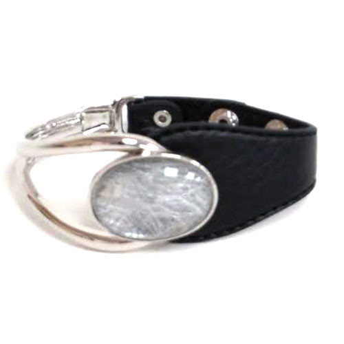 Lacey Silver Stone Leather Bracelet