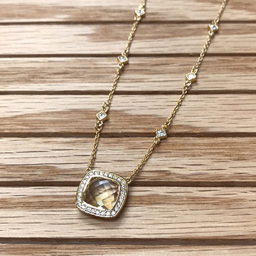 Lafonn's Large Square Lemon Quartz Necklace