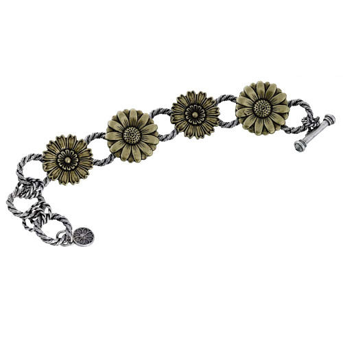 Two-Tone Daisy Links Bracelet