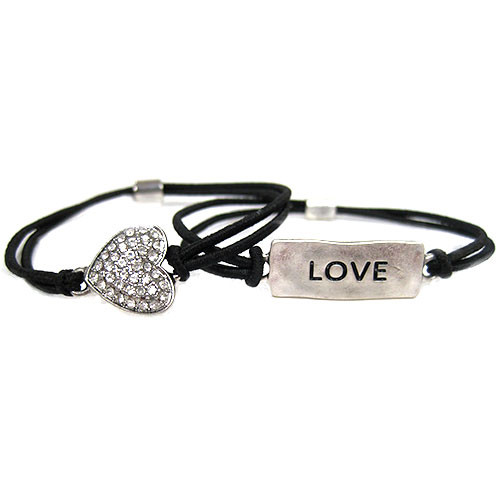 Pave Heart and Love Plaque Elastic Bracelet