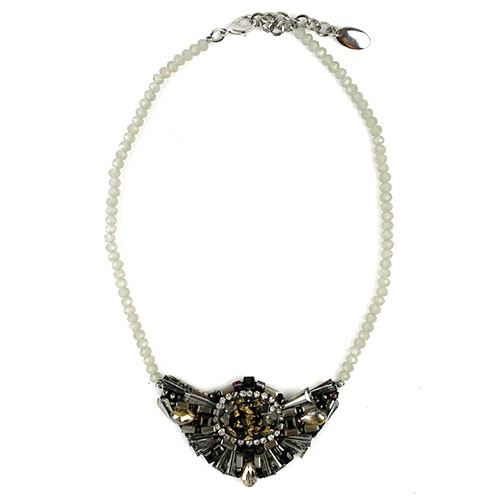Iridescent Gray Crystal Fan Necklace