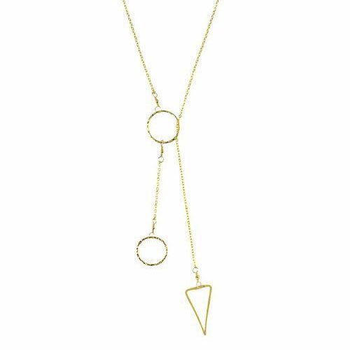 Charlen K Triangle and Circle Lariat Necklace