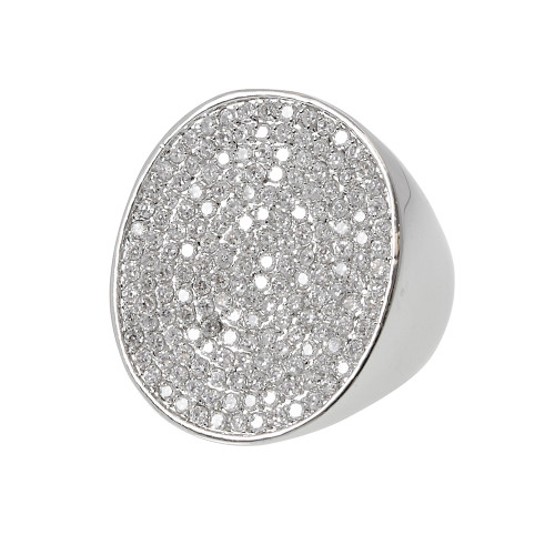 Large Circular Pave Set Ring Silver