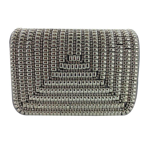 Sondra Robert's  Silver Satin Metallic Beaded Crossbody