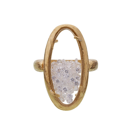 Oval Glass Encased Crystal Ring G