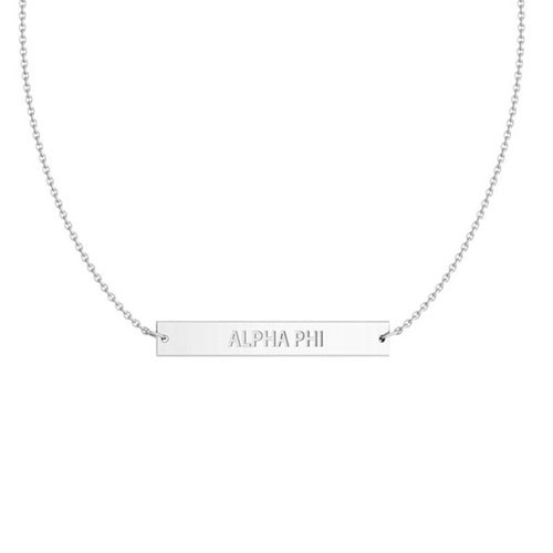 Alpha Phi Silver Infinity Bar Necklace