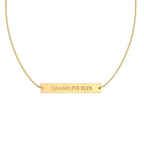 Gamma Phi Beta Gold Infinity Bar Necklace