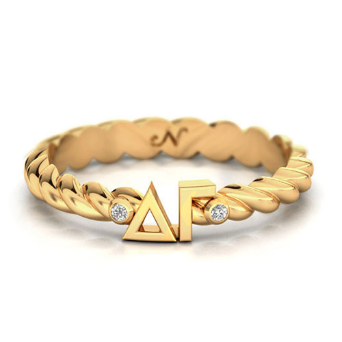 Delta Gamma Gold Pav© Twist Letter Ring