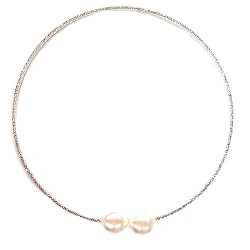Crystal and Pearl Silver Collar