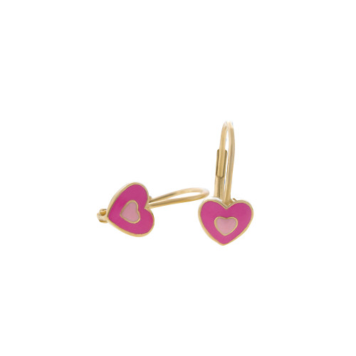 Pink on Pink Heart Euro Wire Earring