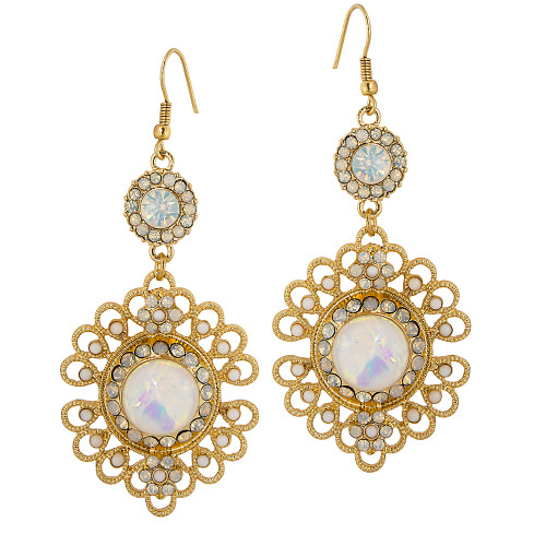 Filigree Flower Earring White Opal