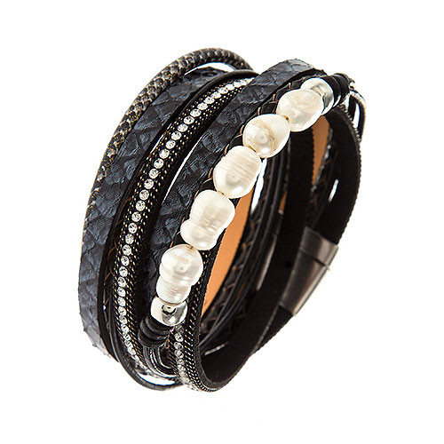 Fresh Water Pearl Multi-Strand Bracelet- Black