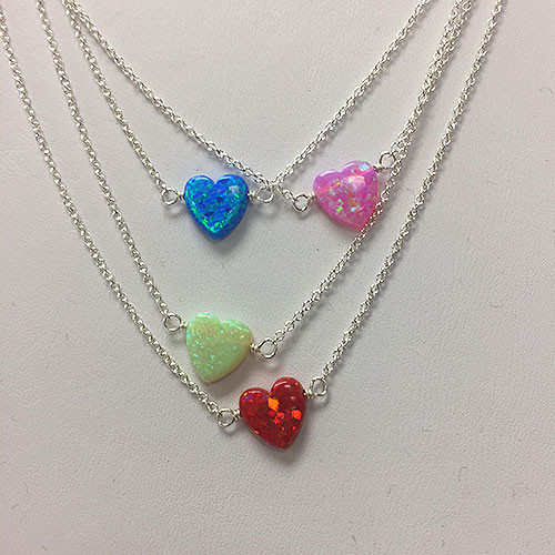 Opal Heart Charm Necklaces on Silver Chain