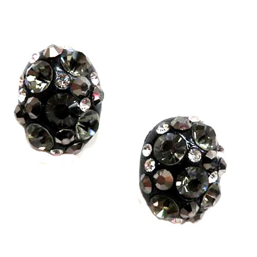 Black/Gray Jeweled Button Earring