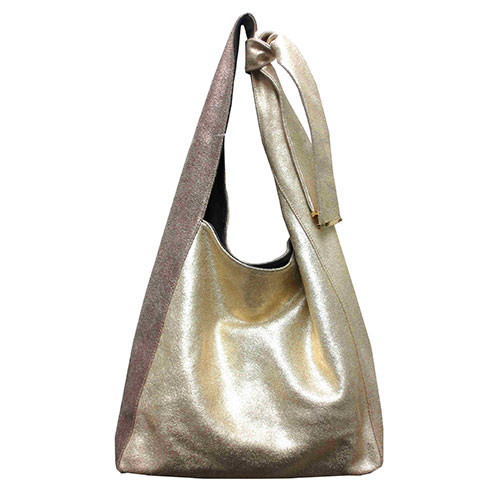 Sondra Roberts Stunning Gold & Bronze Distressed Leather Hobo