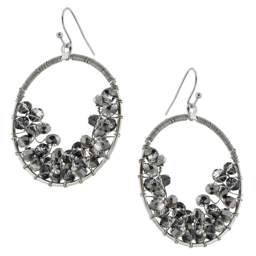 Hematite Crystal Hoops