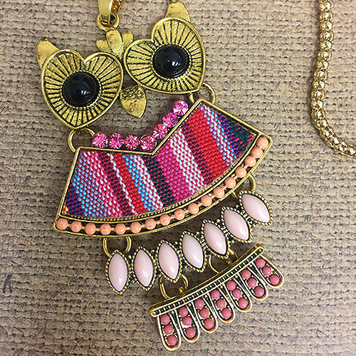 Long Embellished Owl Pendant