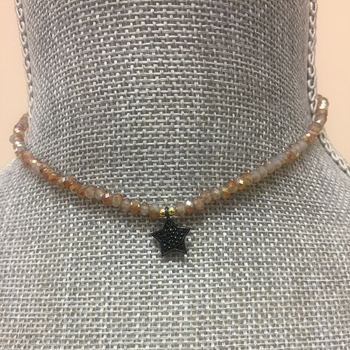 Genuine Sunstone Quartz Beaded Choker with Black Crystal Star