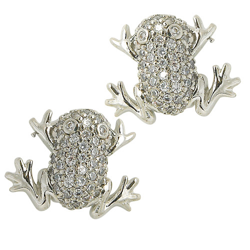 Pave Frog Post Earrings