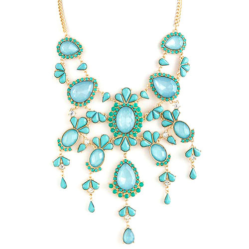 Glamorous Mint Statement Bib Necklace
