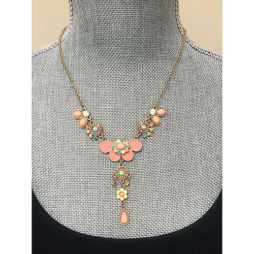 Hand Enameled Peach Lotus Pendant