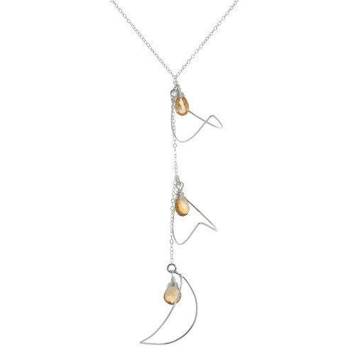 Zia's Three Silver Petals and Citrine Stones Necklace