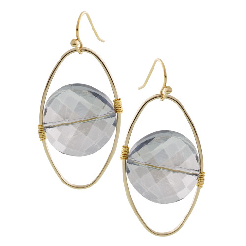 Floating Light Smokey Topaz Crystal in  a Gold Oval