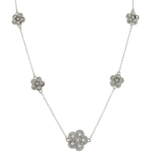 Pave Flower Station Short Necklace