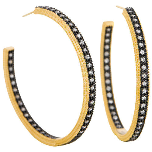 Freida Rothman's Black and Vermeil Crystal Hoop