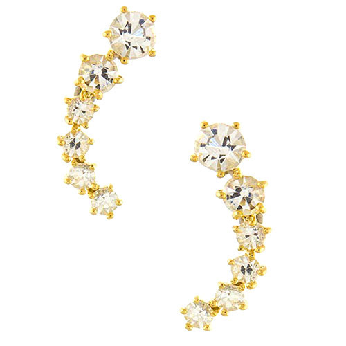 Gold Prong Set Graduated Crystal Posts