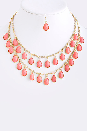 Pink Teardrops Layered Necklace