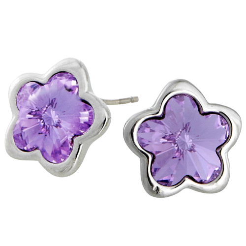 Tanzanite Crystal Flower Post Earring